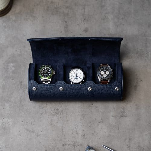 navy blue watch roll for 3 watches