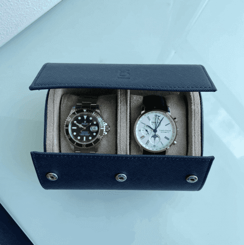 navy blue watch roll two watches