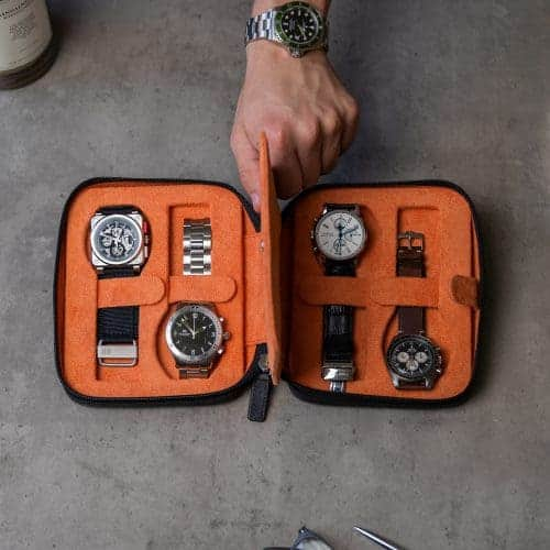 black watch case for four watches